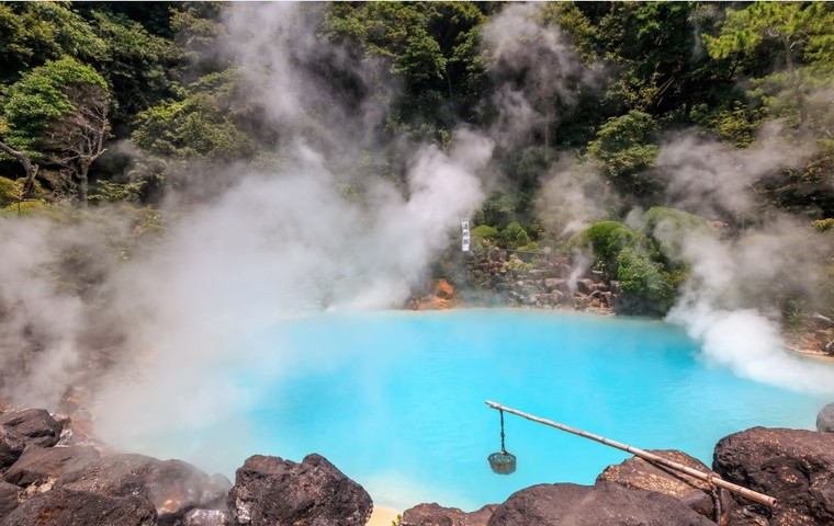 Eight onsen towns offer therapeutic options including milky waters and sand and mud