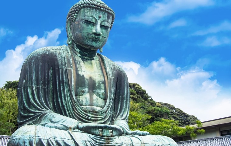 Stand inside Buddha and contemplate life and the universe